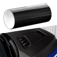 fenster filmmuster großhandel-6D glänzend schwarz hochglanz auto aufkleber blatt glatte kohlefaser muster auto film wrap aufkleber für autodächer stamm