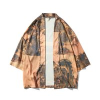 çince tarz ceketler toptan satış-Erkekler Çin Tarzı Baskı Gömlek Ceket Erkek Moda Rahat Kimono Hırka Ceket Bahar Yaz Gömlek Giyim Artı Boyutu M-5XL