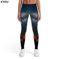 leggings de nubes al por mayor-KYKU Marca Galaxy Leggings Mujeres Space Sport Mountain Impresión 3D Nube Elástica Leggins Womens Leggings Pantalones Fitness Moda