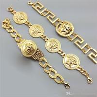 ingrosso braccialetto di stile di strada-Bracciale da uomo di marca Tide, bracciale dorato per uomo, bracciale stile hip hop con testa di medusa
