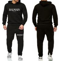 jaqueta de flanela venda por atacado-Balmain Treino For Men 2 Pieces Set de Moda de Nova Jacket Sportswear Mens Treino Hoodie Primavera roupas de outono Hoodies + calças