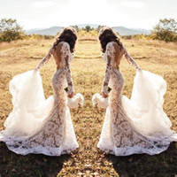 Wholesale lace romantic sexy wedding dresses for sale - Group buy 2019 Romantic Full Lace White Wedding Dresses Mermaid Illusion Long Sleeves Sexy Backless Appliqued Long Western Country Bridal Gown BA8569