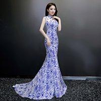vestidos do baile de finalistas da cópia do chinês venda por atacado-Lady Trailing Vestido Oco Out Mulheres Cheongsam Vestidos de Impressão Floral Sexy Elegante Retro Robe De Soiree Chinês Prom Vestidos