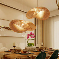 bambu asiático venda por atacado-Asian Handmade Bamboo Weave Pendant Lighting Rattan Dumplin Forma Lâmpada de suspensão para o café jantar roon