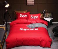 edredón de marca al por mayor-Diseño de marca Impresión de logotipo Juego de cama de lujo Hojas en forma Ropa de cama Funda nórdica Juego de fundas de almohada Doble King Size King