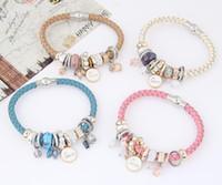 Wholesale pearl crystal bracelets for sale - Group buy Hot Bracelet Women Pearl Rhinestones Bracelets Risers Crystal Acrylic Layer Love Bead Cuff Bangle