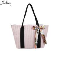 bayan fermuarlı çanta toptan satış-Kadınlar için Aelicy çanta 2019 Moda Hasır Çanta popüler Lady fermuar Çanta Omuz Çantası Büyük Yay Çiçek Omuz dropship