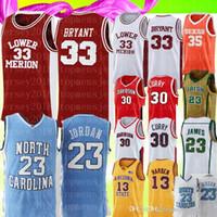 bordados caril camisa de basquete venda por atacado-NCAA Kobe Bryant 33 23 Michael Jersey Faculdade Stephen Curry 30 Mens Kevin Durant 35 Bordados Jerseys