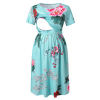frau kurzes kleid krankenschwester großhandel-Frauen Floral Kurzarm Sommer Mutterschaft Stillen Stillen Fotografie Stillen Stillen Kleid B