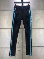 jeans skinny noirs à fermeture éclair hommes achat en gros de-2019 AM Mode Hommes Jeans Zipper Biker Classique Mince Denim Droite Pantalon Hommes Maigre Denim Pants Pantalon Noir