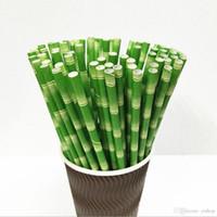 ingrosso bambù per bar-Di alta qualità 19,7 centimetri Usa e getta Bubble Tea Juice Coffice di bambù spessa cannucce di carta per bar compleanno festa nuziale paglia all'ingrosso