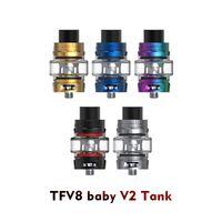 v2 elektronik sigara toptan satış-Tfv8 bebek v2 vape atomizer tankı ile kapasite 5 ml üst dolum elektronik sigara v8 bebek v2 tankı a1 a2 bobin