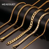 collar serpiente dorado para hombre. al por mayor-Ashion Jewelry Necklace Meaeguet 20inch Collar de cadena de acero inoxidable de color dorado para hombres Mujeres Snake / Box / Hanging / Curb / Flat / Twist Chain W ...