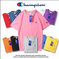 marka şort toka toptan satış-En kaliteli Unisex Yaz Marka Erkekler T gömlek anti-sahte toka Champ C klasik küçük işlemeli Logo kısa kollu kadın t-shirt