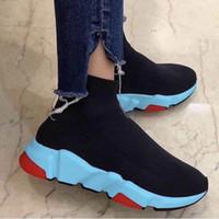 chaussettes directes d'usine achat en gros de-Les formateurs de vitesse 2020 Sock Chaussures Bleu Rouge Sole Luxe Chaussures Speed Race Chaussures Sock Entraîneur des hommes et des femmes Sock Formateurs Factory Direct
