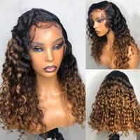 perruque blonde cheveux bouclés achat en gros de-PAFF Ombre blond miel bouclés perruque de cheveux humains de Remy de Brésilien Preplucked 13x4 Lace Front perruque Glueless bébé cheveux pour les femmes