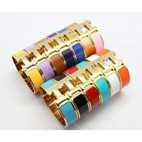 Wholesale glowing chain resale online - Hot sell Luxury mm Classic Brand H Bracelets bangles for women Stainless Steel Cuff H Bracelets Bangles Wristband Enamel