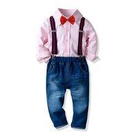 3ebf2b75c8873 2019 garçon coton chemise à manches longues extensible pantalon en jean  cravate robe bébé enfant