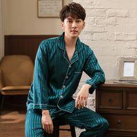 langarm-pyjamas neuankömmlinge großhandel-Neue Ankunft Herbst Winter Warm Langarm Herren Seiden Pyjama Set Umlegekragen Strickjacke Big Size L-3XL Männliche Homewear Kleidung