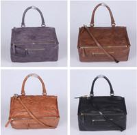 echtes leder mehrfarbige handtasche großhandel-Frauen Handtasche Echtes Leder Einfachheit Persönlichkeit Handtasche Hight Qualität Mode Pandora Frauen Tasche multifunktions Reine Farbe Lässige Taschen