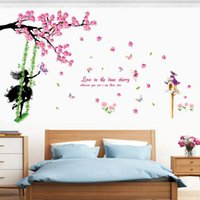 Wholesale swings for trees for sale - Group buy Plum Tree Swing Girl Wall Stickers PVC Material Pink plum flower DIY Wall Decal For Living Room Kids Room Home Decor Murals