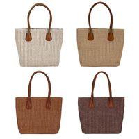 sacos de compras tecidos venda por atacado-Palha tecido bolsas de ombro mulheres tricô top-handle bags bolsas de compras
