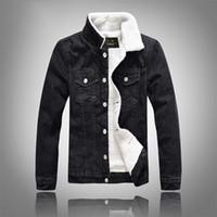 chaquetas de jean negro hombres al por mayor-Invierno otoño moda para hombre chaqueta de mezclilla Slim Fit negro hombres abrigos abrigos hombres Jean chaqueta