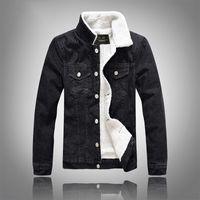 homens jaquetas pretas jean venda por atacado-Outono Inverno Moda Mens Jaqueta Jeans Casual Slim Fit Homens Casacos Casacos Outerwear Jean Jaqueta
