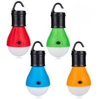 bombillas usadas al por mayor-Mini Linterna Portátil Carpa Luz LED Bombilla Lámpara de Emergencia Impermeable Colgando Gancho Linterna Para Acampar 4 Colores Uso 3A