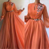 chiffon vestido de baile laranja venda por atacado-Elegante orange mangas compridas flores vestidos de noite dubai 2019 a linha chiffon islâmico saudita árabe longo vestido de baile robe de soiree bm0844