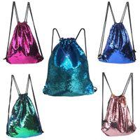 Wholesale women bling backpack resale online - Boy Girl Sequins drawstring bag Colorful Package Bags Travel Bling Backpack For Women drawstring backpack mochila saco