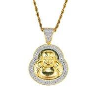 bouddha or collier hommes achat en gros de-hip hop Maitreya Buddha diamants pendentif colliers pour hommes femmes Bouddhisme Religion collier de luxe réel plaqué or cuivre zircons
