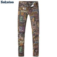 Wholesale drawing patterns jeans for sale - Group buy Sokotoo Men s fashion pattern trendy print jeans Colored drawing slim stretch denim pants