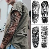 tatuagens de caveiras venda por atacado-Grande Braço Manga Tatuagem Leão Coroa Rei Rosa Tatoo Temporária À Prova D 'Água Etiqueta Tigre Selvagem Homens Tigre Totem Completa Tatto T190711