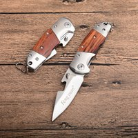 satin en bois achat en gros de-Fengyuan Petit Couteau Pliant 440C Lame En Satin Manche En Bois EDC Couteaux De Poche Avec Décapsuleur Et Porte-clés