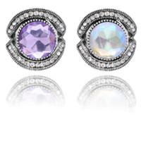 bouton pression violet achat en gros de-2019 Snap Bijoux De Haute Qualité en métal grand violet violet blanc Strass Cristal fit 18mm Snap Bouton Bracelet DIY Gingembre Bouton bijoux
