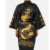 çince nakış elbisesi toptan satış-Siyah Çinli erkek Geleneksel Nakış Saten Robe Ejderha Kimono Banyo Kıyafeti Erkek Pijama