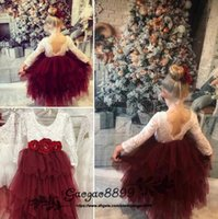 Wholesale clothes images online - 2019 Lovely Infant Toddler Baptism Clothes Flower Girl Dresses With Long Sleeves Tiered Ruffle Tutu D flower lace Ball Gowns custom made