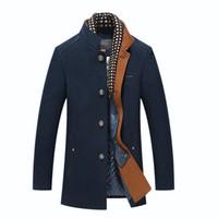 ingrosso cappotto di trincea uomo di collana mandarino-Giacca invernale da uomo Cappotto di lana sottile casual Cappotto di spessore da uomo Cappotto da trench con giacca di lana staccabile Sciarpa Casaco Masculinos