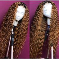perruques blondes achat en gros de-Ombre Bouclés Full Lace Perruque Blonde Deux Tons Couleur 1b # 30 # Brésilien Full Lace Front Perruques de Cheveux Humains Kinky Bouclés Avec des cheveux de bébé