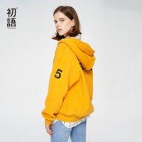 calçado amarelo roxo venda por atacado-Toyouth Fatos Por letra impressa Feminino moletom com capuz Hoodies Mulheres Moda amarelo roxo Outwear Zip-Up camisola Y190916