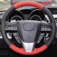 Black Red Blue Natural Leather Car Steering Wheel Cover for Mazda 3 Axela 2008-2013 Mazda CX-7 CX7 2010-2016 Mazda 5 2011-2013