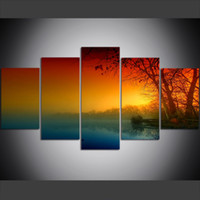Wholesale framed river oil paintings for sale - 5 Piece Large Size Canvas Wall Art Pictures Creative Sky Trees Nature River Fall Leaves Poster Art Print Oil Painting for Living Room