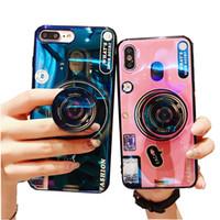держатель камеры мобильного телефона оптовых-Для iphone xr xs max 8 7 6 плюс телефон подставка для телефона чехол винтажный мультфильм лазерная крышка держателя с воздушным кронштейном мобильного телефона