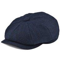 chapéu de boina homem azul venda por atacado-BOTVELA Tweed Azul Marinha Herringbone Newsboy Cap Homens 8-Quarter Painel Cabbie Tampas Planas Mulheres Motorista Beret Hat 005