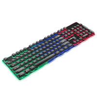 свечение панели оптовых-Gaming English Waterproof Keyboard Retro Round Glowing Keycap Metal Panel Backlit USB Wired Metal Panel Illuminated Border