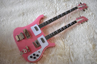 Wholesale double neck guitar high quality resale online - Factory Double Neck Pink Electric Bass and Guitar with Strings White Pickguard High Quality Can be Customized