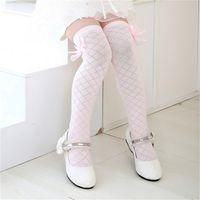 Classic Kids Cotton Socks Tights School High Knee Gridding Bow Stockings Pop#E
