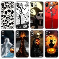 Wholesale skull iphone cell case for sale – best For Iphone Pro Xs Max Xr Halloween Skull Pumpkin Phone Case X Plus Transparent Luxury Soft Cell Phone Cases
