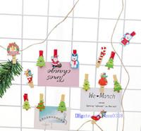 ingrosso foto carine di natale di natale-2018 Cute Cartoon Christmas Clip di legno Set Mini clip decorative con corda Clip di immagini colorate per Photo Frame Wall Decoration Kids Love